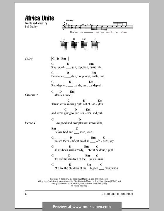 Africa Unite By B Marley Sheet Music On Musicaneo