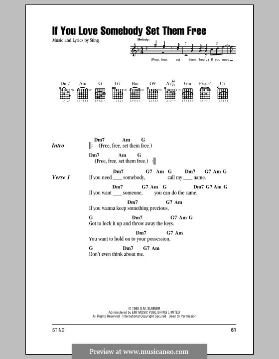 If You Love Somebody Set Them Free By Sting Sheet Music On Musicaneo