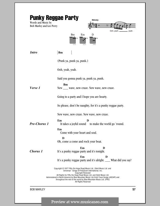 Punky Reggae Party (Bob Marley): Lyrics and chords (with chord boxes) by Lee Scratch Perry