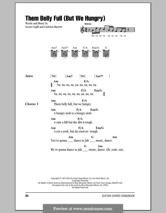 Them Belly Full (But We Hungry): Lyrics and chords (with chord boxes) by Carlton Barrett, Lecon Cogill