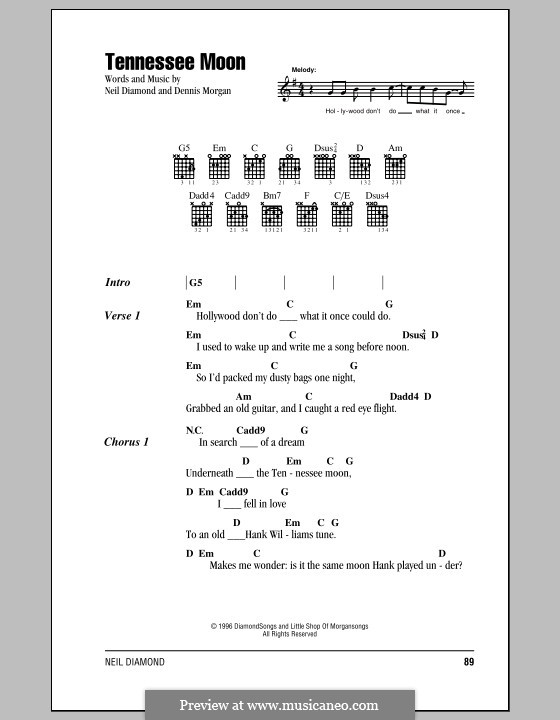 Tennessee Moon: Lyrics and chords (with chord boxes) by Dennis Morgan