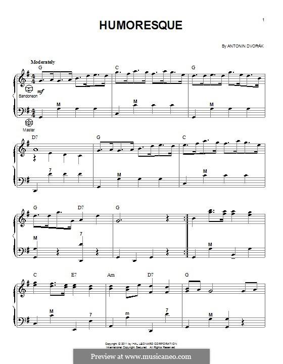 Humoresques, B.187 Op.101: No.7, for accordion by Antonín Dvořák