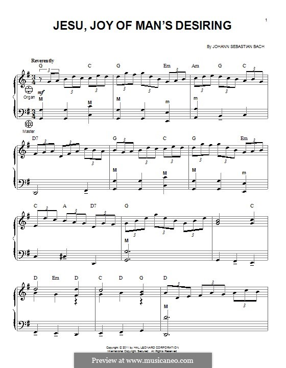 Jesu, Joy of Man's Desiring (Printable Scores): For accordion by Johann Sebastian Bach
