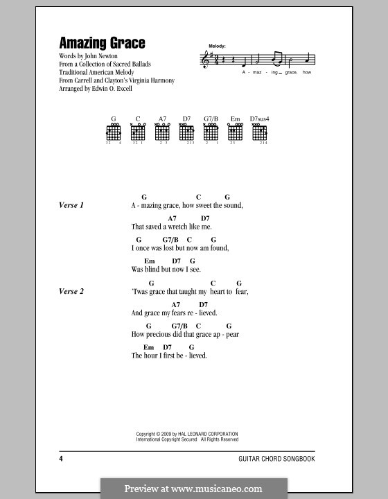 Amazing Grace (Printable Scores): Lyrics and chords (with chord boxes) by folklore