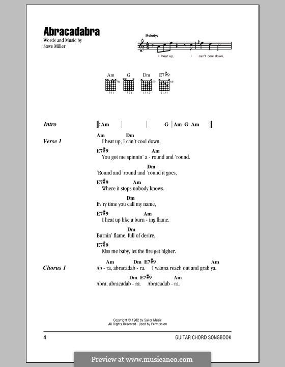 Abracadabra (Steve Miller Band) by S. Miller - sheet music on MusicaNeo