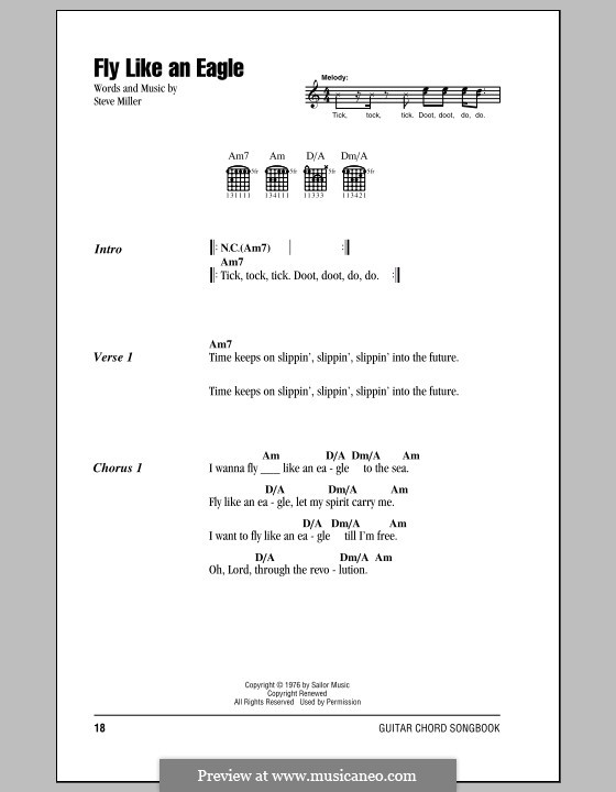 Fly Like an Eagle (Steve Miller Band): Lyrics and chords with chord boxes by Steve Miller