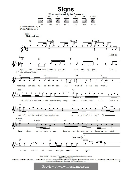 Signs (Five Man Electrical Band): For guitar (very easy version) by Les Emmerson