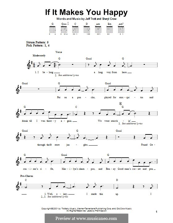 If It Makes You Happy: For guitar (very easy version) by Jeffrey Trott, Sheryl Crow