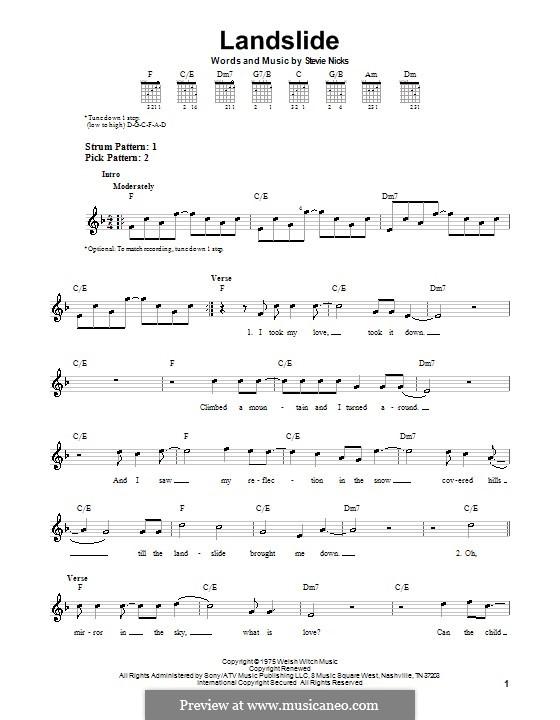 Landslide (Fleetwood Mac): For guitar (very easy version) by Stevie Nicks