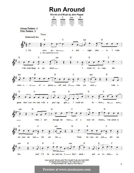 Run Around (Blues Traveler): For guitar (very easy version) by John Popper