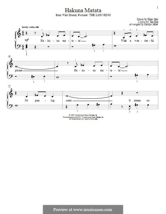 Hakuna Matata (from The Lion King): For piano by Elton John