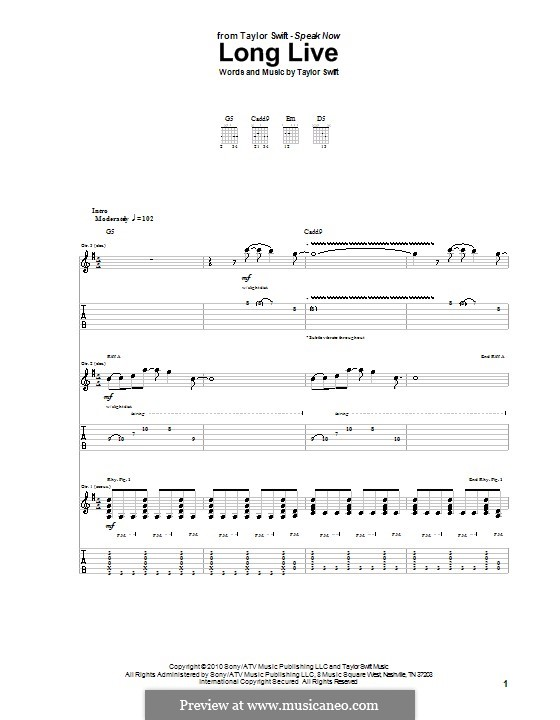 Long Live By T Swift Sheet Music On Musicaneo
