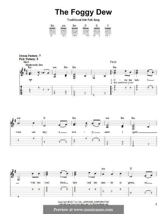 The Foggy Dew: For guitar (very easy version) by folklore
