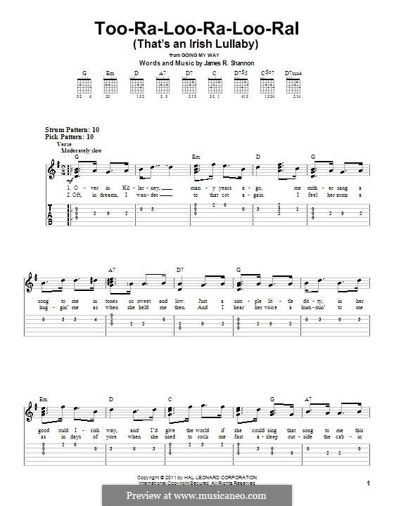 Too-Ra-Loo-Ra-Loo-Ral (That's an Irish Lullaby): Easy guitar tab by James Royce Shannon