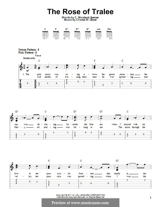 The Rose of Tralee: For easy guitar tablature by Charles William Glover