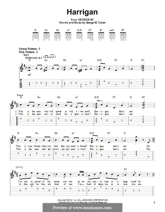 Harrigan: For guitar (very easy version) by George Michael Cohan