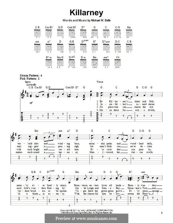 Killarney: For easy guitar tab by Michael William Balfe