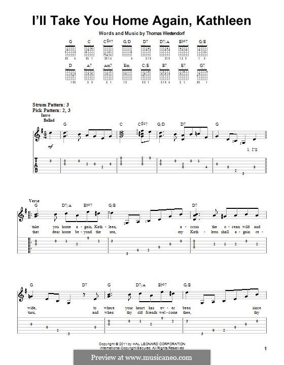 I'll Take You Home Again, Kathleen: For guitar by Thomas Payne Westendorf