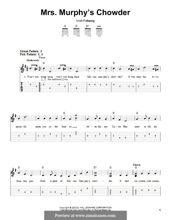 Mrs. Murphy's Chowder: For guitar (very easy version) by folklore