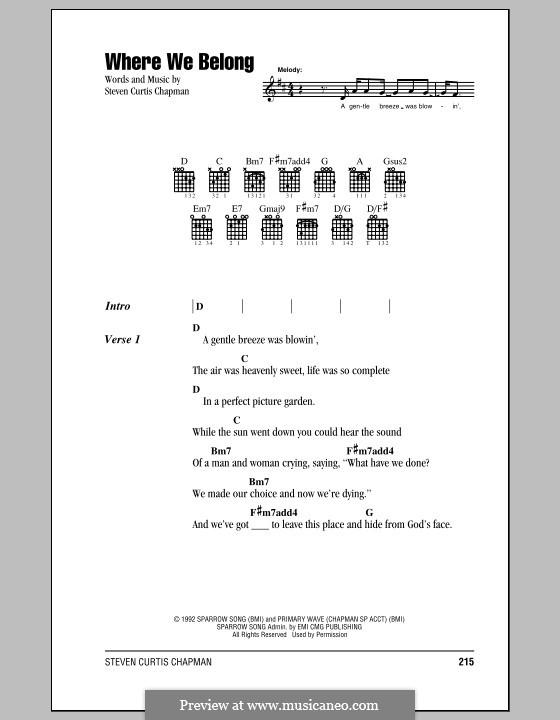 Where We Belong By Sc Chapman Sheet Music On Musicaneo