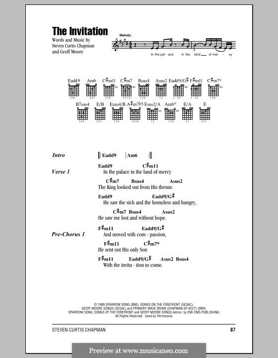 The invitation by g moore sheet music on musicaneo the invitation lyrics and chords with chord boxes by geoff moore stopboris Image collections