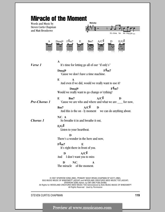 Miracle of the Moment (Steven Curtis Chapman): Lyrics and chords (with chord boxes) by Matt Bronleewe