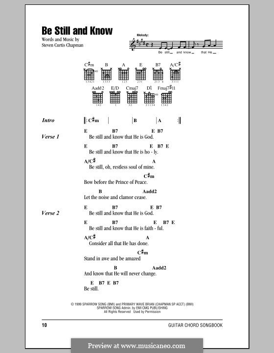 Be Still And Know By Sc Chapman Sheet Music On Musicaneo