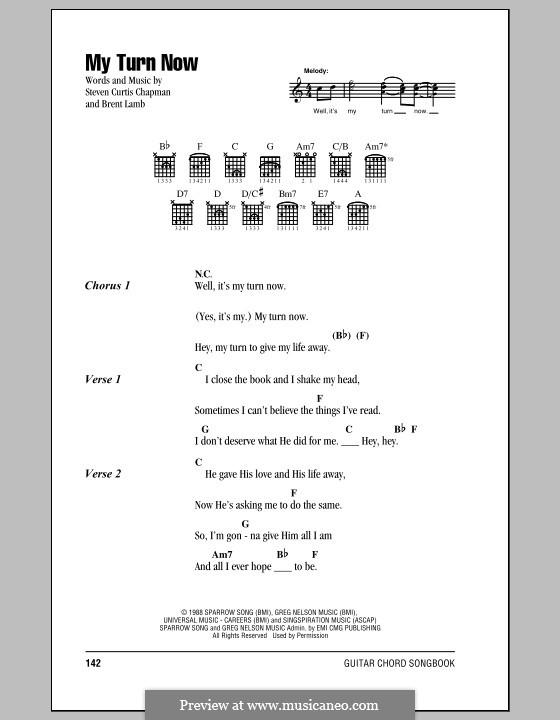 My Turn Now Steven Curtis Chapman By B Lamb Sheet Music On