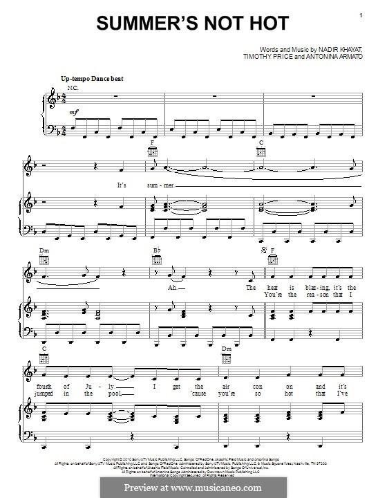 Summer's Not Hot (Selena Gomez & The Scene): For voice and piano (or guitar) by RedOne, Antonina Armato, Timothy Price