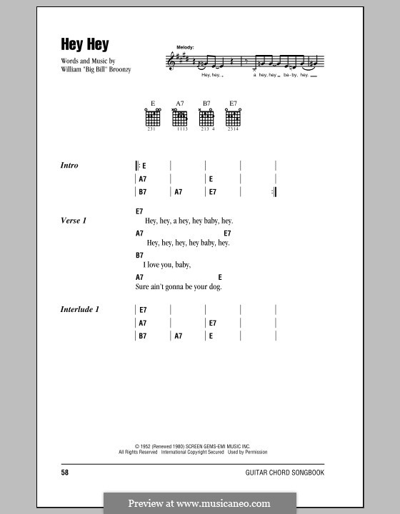 Hey Hey: Lyrics and chords (with chord boxes) by Big Bill Broonzy