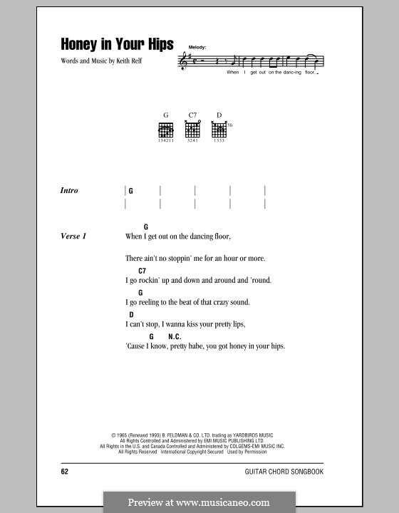 Honey in Your Hips: Lyrics and chords (with chord boxes) by Keith Relf