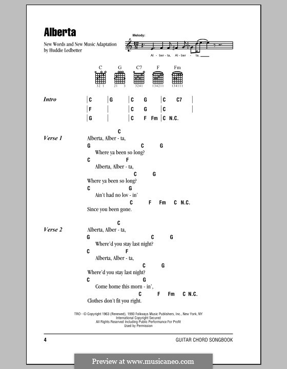 Alberta (Eric Clapton): Lyrics and chords with chord boxes by Huddie Ledbetter