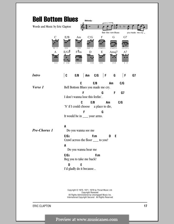 Bell Bottom Blues (Derek and The Dominos): Lyrics and chords (with chord boxes) by Eric Clapton