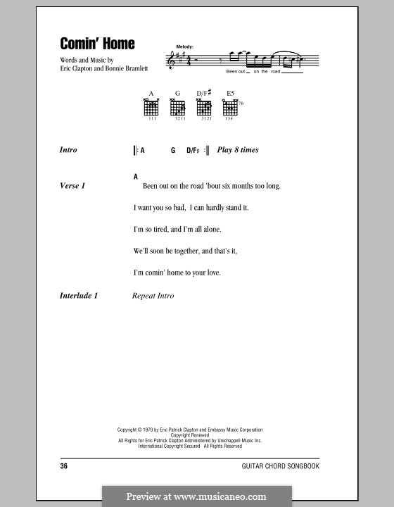 Comin' Home: Lyrics and chords (with chord boxes) by Bonnie Bramlett