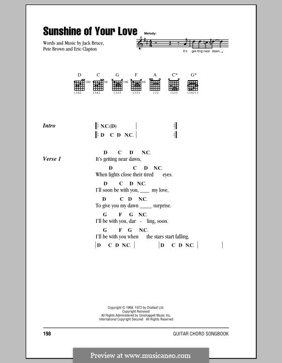 Sunshine of Your Love (Cream): Lyrics and chords (with chord boxes) by Eric Clapton, Jack Bruce, Pete Brown