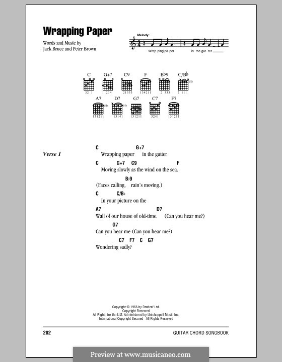 Wrapping Paper (Cream): Lyrics and chords (with chord boxes) by Jack Bruce, Pete Brown