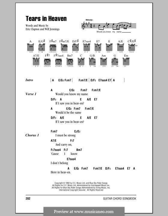 Tears in Heaven: Lyrics and chords (with chord boxes) by Eric Clapton, Will Jennings