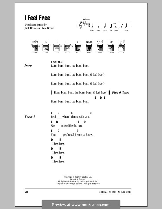 I Feel Free (Cream): Lyrics and chords by Jack Bruce, Pete Brown