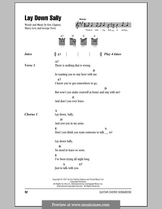 Lay Down Sally: Lyrics and chords (with chord boxes) by George Terry, Marcy Levy