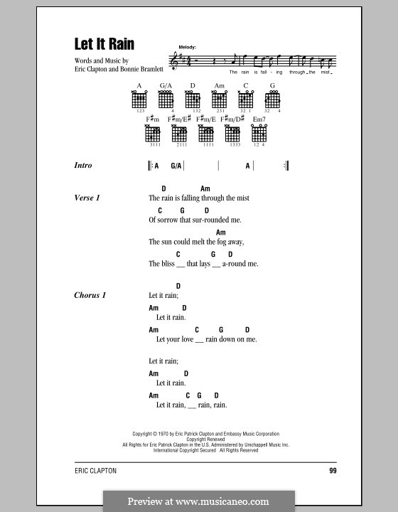 Let It Rain: Lyrics and chords (with chord boxes) by Bonnie Bramlett