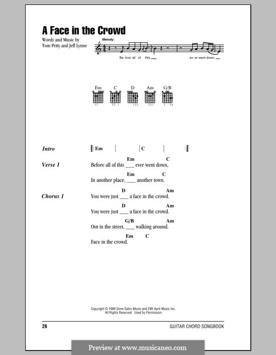 A Face in the Crowd: Lyrics and chords (with chord boxes) by Jeff Lynne