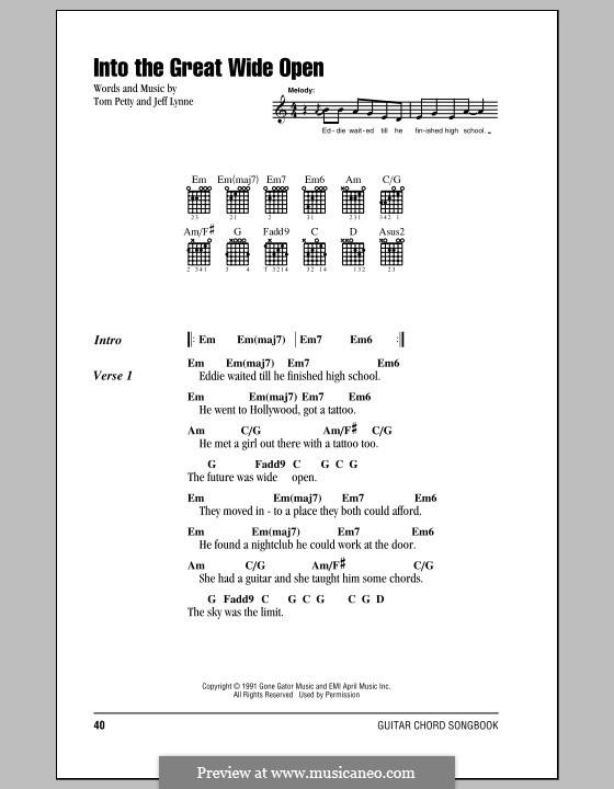Into the Great Wide Open: Lyrics and chords (with chord boxes) by Jeff Lynne
