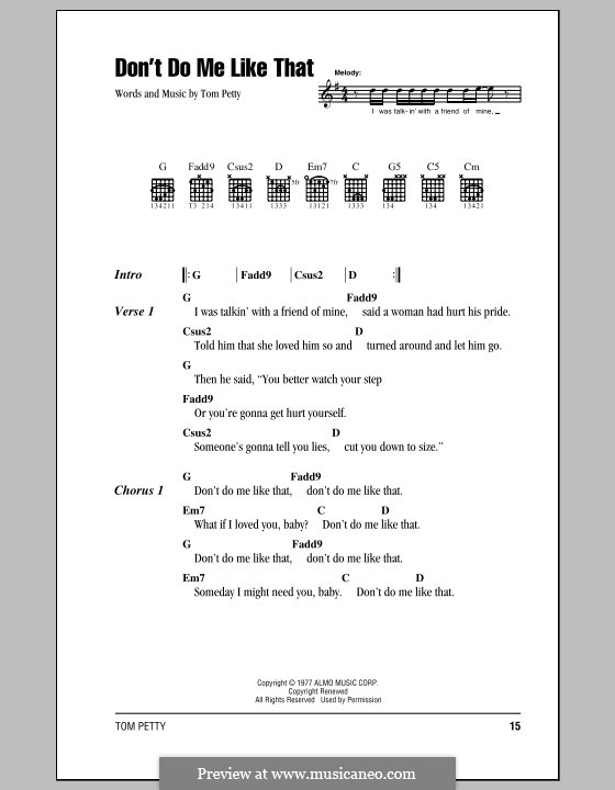 Don't Do Me Like That (Tom Petty and The Heartbreakers): Lyrics and chords (with chord boxes) by Tom Petty