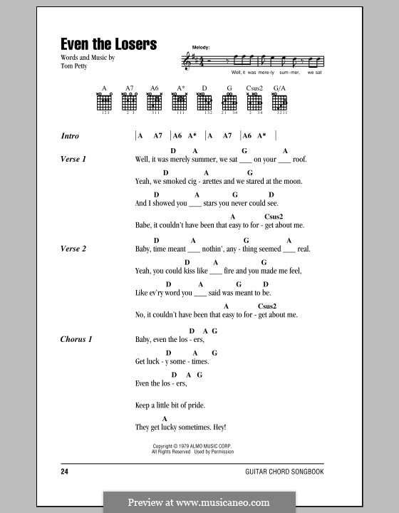 Even the Losers: Lyrics and chords (with chord boxes) by Tom Petty