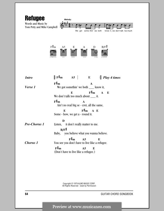 Refugee (Tom Petty and The Heartbreakers): Lyrics and chords (with chord boxes) by Mike Campbell