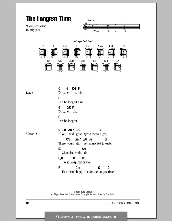 The Longest Time: Lyrics and chords (with chord boxes) by Billy Joel