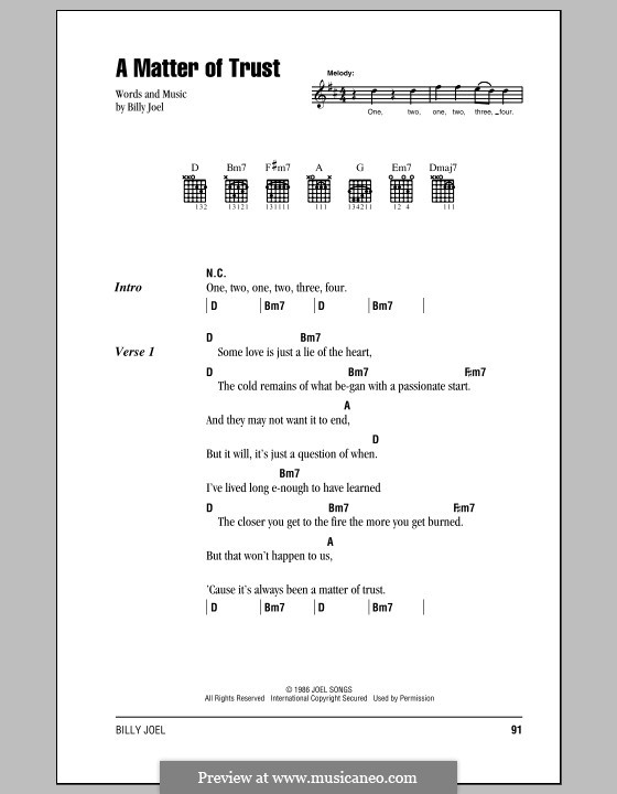 A Matter of Trust: Lyrics and chords (with chord boxes) by Billy Joel
