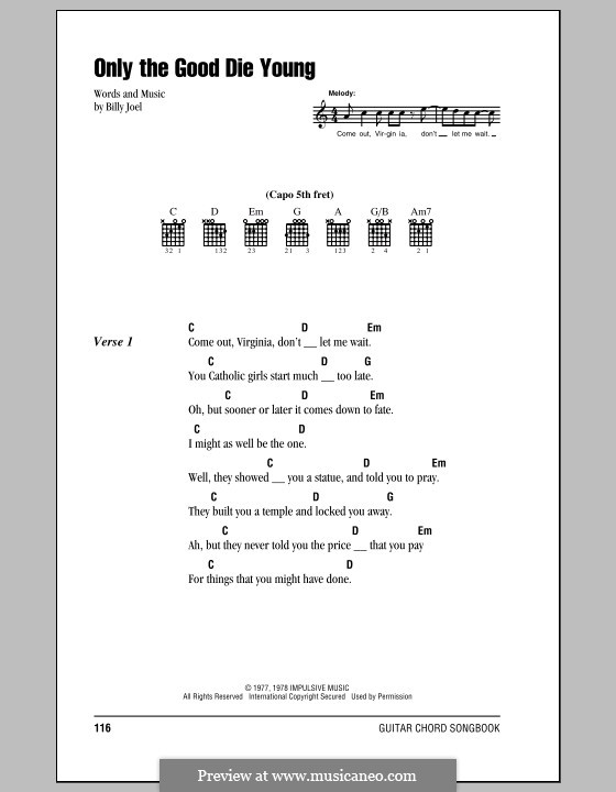 Only the Good Die Young: Lyrics and chords (with chord boxes) by Billy Joel