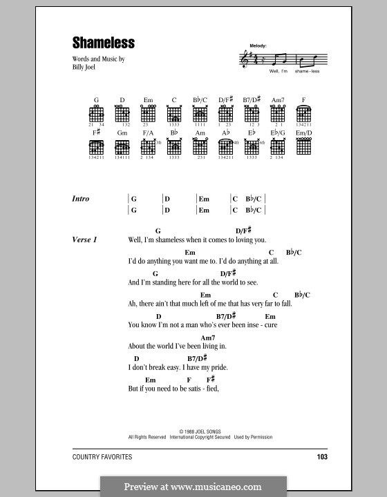 Shameless: Lyrics and chords (with chord boxes) by Billy Joel