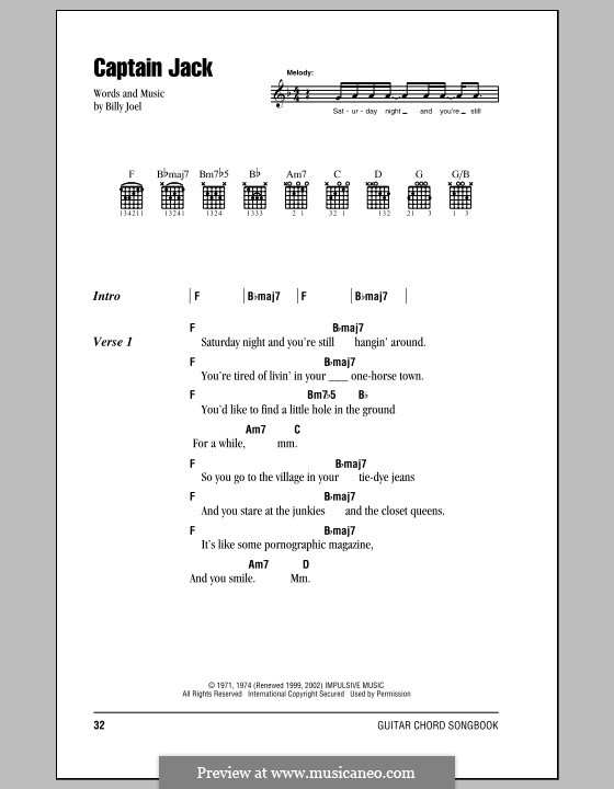 Captain Jack: Lyrics and chords (with chord boxes) by Billy Joel
